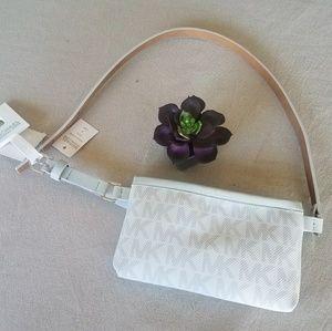Michael Kors light gray belt fanny pack med